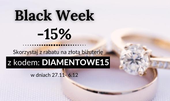 Black Week: -15%na złotą biżuterię, obrączki i pierścionki