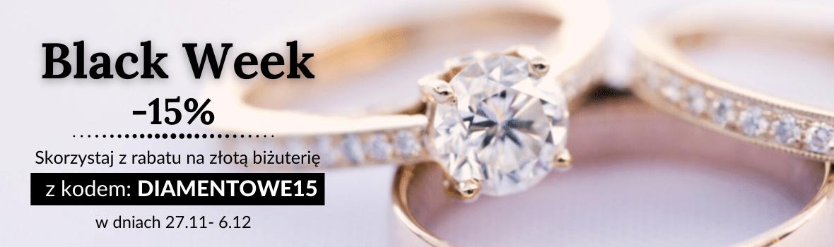 Black Week: -15% na złotą biżuterię, obrączki i pierścionki